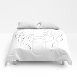 Minimal Line Art Woman with Hands on Face Comforters