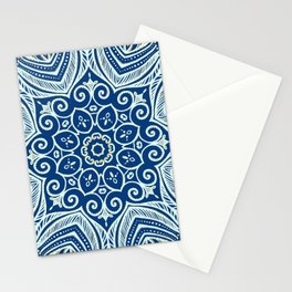 Blue and Gold  flowers pattern Stationery Cards