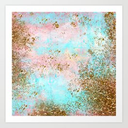 Pink and Gold Mermaid Sea Foam Glitter Art Print