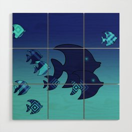 Nine Blue Fish with Patterns Wood Wall Art