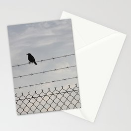 Single Black Bird on a Barbed Wire Fence Stationery Cards