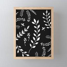 White Leaves Pattern #3 #drawing #decor #art #society6 Framed Mini Art Print