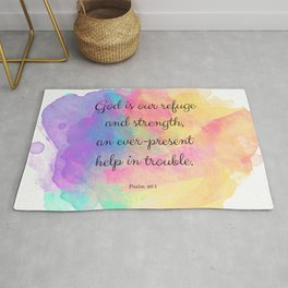 Psalm 46:1, God is our Refuge, Scripture Quote Rug