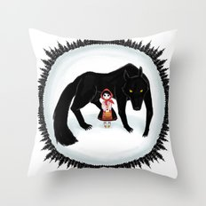 Little Red Riding Hood and the Big Bad Wolf Throw Pillow