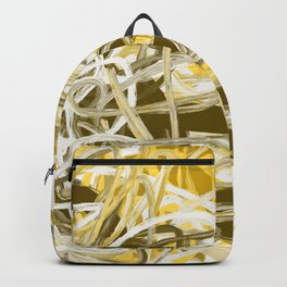 Yellow Mustard Gold Brown Abstract Backpack