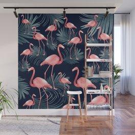 Summer Flamingo Palm Night Vibes #1 #tropical #decor #art #society6 Wall Mural