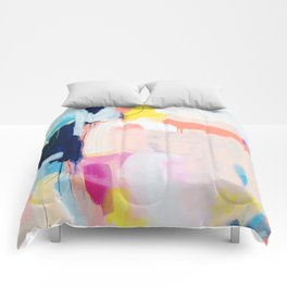 """""""passions 2"""" abstract art in navy, blush, teal, white, and yellow Comforters"""