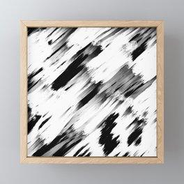 Modern Abstract Black White Brushstroke Art Framed Mini Art Print