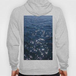 Sparkly Deep Blue Sea Waves Hoody