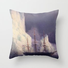 Icebergs Landscape Masterpiece by Ivan Aivazovsky Throw Pillow