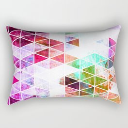Pink Grungy Triangle Design Rectangular Pillow