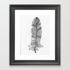 Black and White Feather Zen Framed Art Print