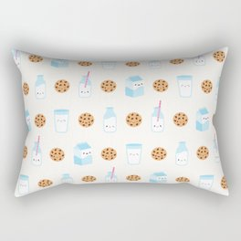 Milk and Cookies Pattern on Cream Rectangular Pillow