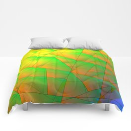 Abstract pattern of green and overlapping yellow triangles and irregularly shaped lines. Comforters