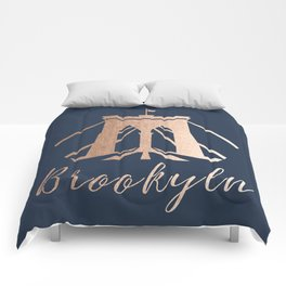 Rosegold on Navy Brooklyn Bridge Comforters