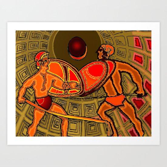 Gladiator Battle in the Pantheon Art Print