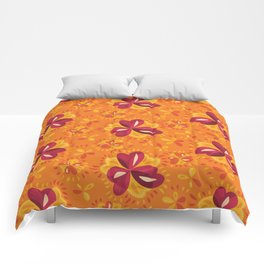 Orange And Pink Clover Abstract Floral Comforters