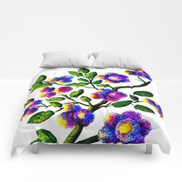 Blue Pink Yelow Flower Branch Clip Art Comforters