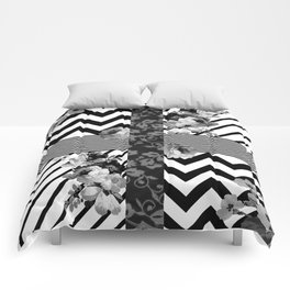 Trendy Black and White Floral Lace Stripes Chevron Comforters