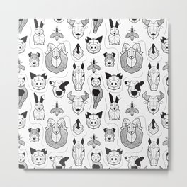 Friendly Geometric Farm Animals // white background black and white pigs queen bees lambs cows bulls dogs cats horses chickens and bunnies Metal Print