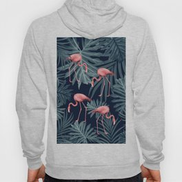 Summer Flamingo Jungle Night Vibes #1 #tropical #decor #art #society6 Hoody