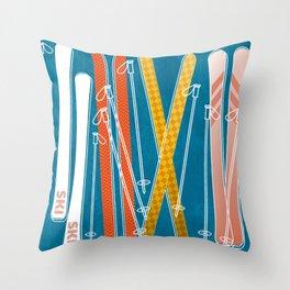 Colorful Ski Pattern Throw Pillow
