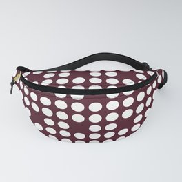White dots on burgundy red Fanny Pack