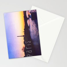 Sunset over Seine River, Paris Stationery Cards