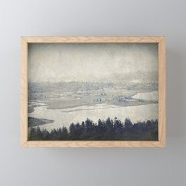 antiqued view from the Astoria Column Youngs Bay Framed Mini Art Print