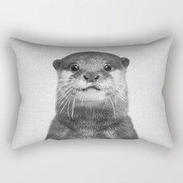 Otter - Black & White Rectangular Pillow