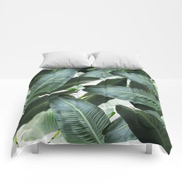Tropical Palm leaf, banana leaf, greens, Hawaii, retro style Comforters