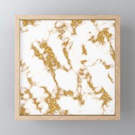 Golden white marble pattern Framed Mini Art Print