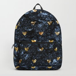 Gold Glitter Hearts on Blue-Black Scratched Suede Backpack
