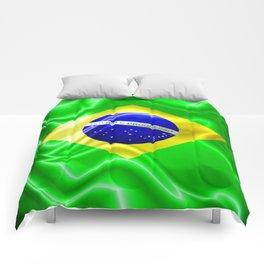 Brazil Flag Waving Silk Fabric Comforters