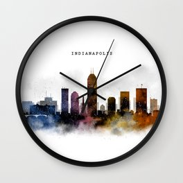 Indianapolis Watercolor Skyline Wall Clock