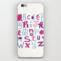 alphabet iPhone & iPod Skins featuring Alphabet by Linzie Hunter