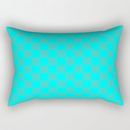 Cyan and Turquoise Checkerboard Rectangular Pillow