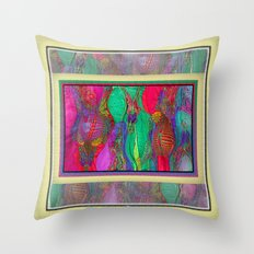 EMBROIDERED ASIAN FABRIC FANTASY COLLAGE Throw Pillow