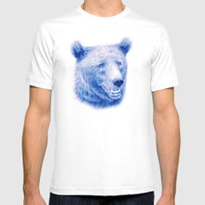 Brown bear is blue MEDIUM Mens Fitted Tee White