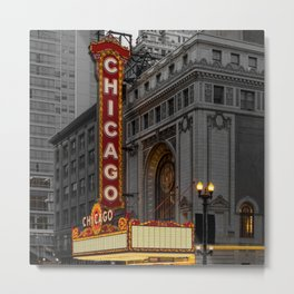 Chicago Theatre Sign Downtown State Street Historic Theater Marquee Metal Print