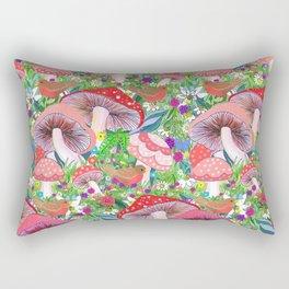 Swedish Toadstool Woodland Robins Floral Rectangular Pillow