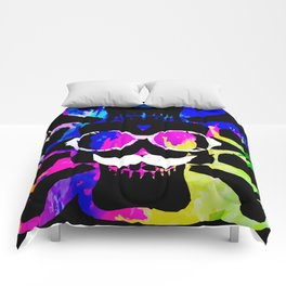 old vintage funny skull art portrait with painting abstract background in pink blue yellow green Comforters