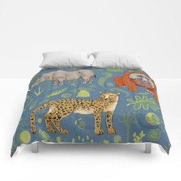endangered animals, black rhino, amur leopard, bornean orangutan Comforters