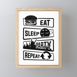 Eat Sleep Party Repeat - Celebrate Fun Friends Framed Mini Art Print