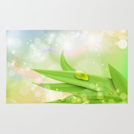 pastel colors with green grass and dew Rug