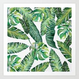 Jungle Leaves, Banana, Monstera #society6 Art Print