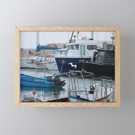 Docked Boats-Color Framed Mini Art Print