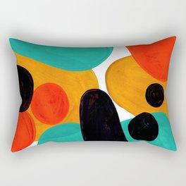 Mid Century Modern Abstract Minimalist Retro Vintage Style Rolie Polie Olie Bubbles Teal Orange Rectangular Pillow