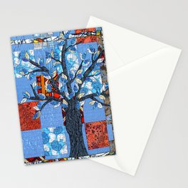 Tree in blue and brown Stationery Cards