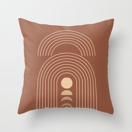 Geometric Lines in Terracotta and Beige 21 (Rainbow Moon Phases) Throw Pillow